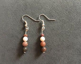Jasper and Moonstone Dangle Drop Earrings Semi Precious Stones
