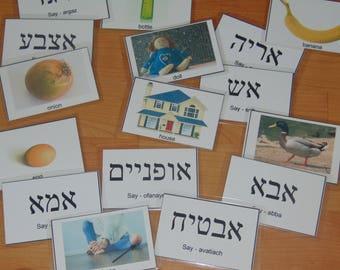 Hebrew words laminated flashcard set