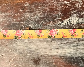 Mustard Floral Faux Leather Cuff