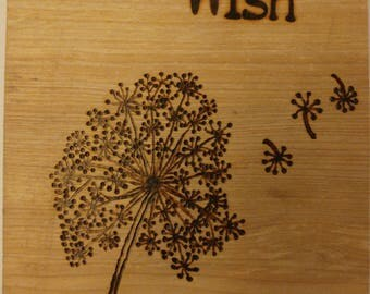 Dandelion Wish Pyrography Woodburning wall hanging