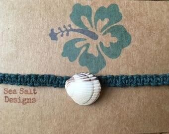 Teal Hemp Cord Shell Bracelet