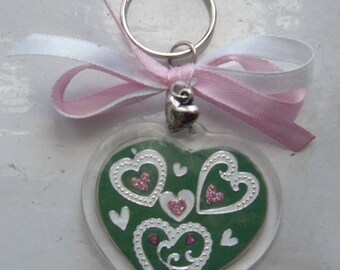 Key ring with precious hearts white and pink, white and pink ribbons, silver heart charm