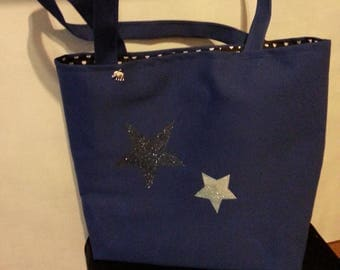 Navy blue canvas bag with stars
