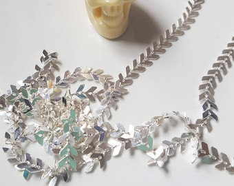chevron or spike silver plated brass chain 20cm