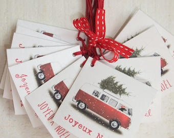 Set of 12 Tags labels Christmas VW