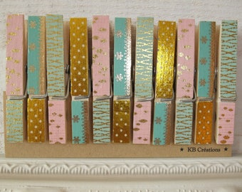 11 clips decorated linen (No. 60) pink / green / gold