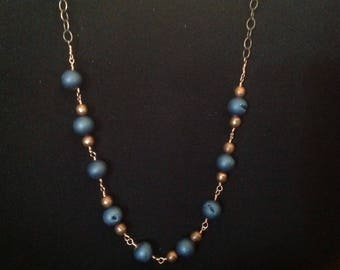 Blue and copper necklace