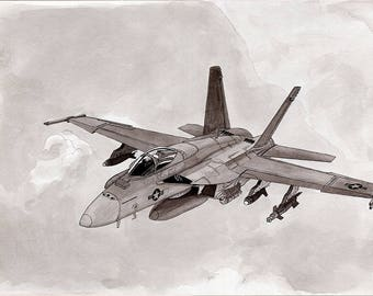 F18 Hornet 11x14 Ink Wash Painting