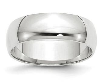 New 14K Solid White Gold 6mm Men's and Women's Wedding Band Ring Sizes 4-14. Solid 14k White Gold, Made in the U.S.A.