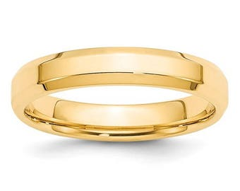 New 14K Solid Yellow Gold 4mm Comfort Fit Bevel Edge Wedding Band Ring Sizes 4-14