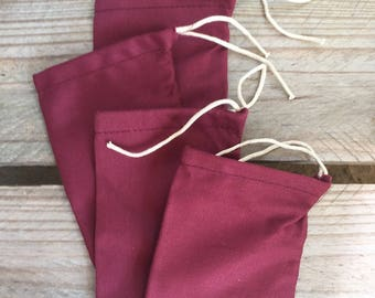 "4""x6"" Cotton twill Single Drawstring Muslin Bags (Maroon color)"