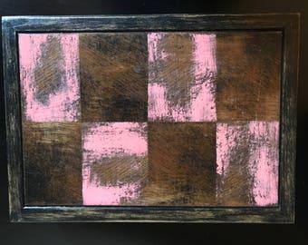 Distressed pink checkerboard jewelry box