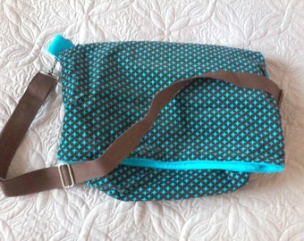 Turquoise and Brown shoulder bag