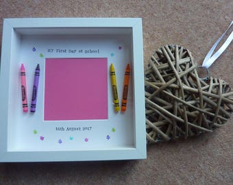 Personalised Handmade First Day at School or Nursery Picture Frame Gift