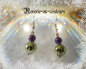 Purple and green beads earrings