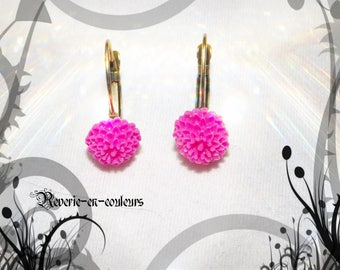 Pink dahlia shaped earrings