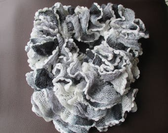 Black wool scarf gray and white mothers day gift