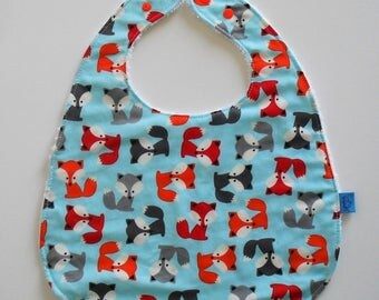 Foxes and Terry cotton snap bib