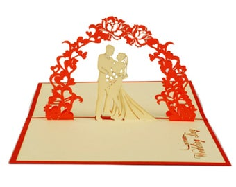 Handmade 3D pop up popup card wedding gift anniversary big day party invitation engagement hen party marriage proposal Valentines card her