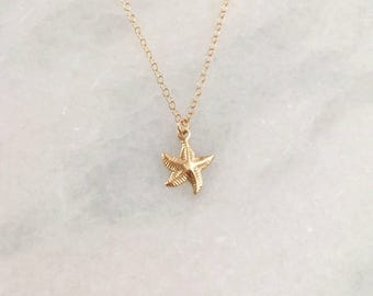 14k Gold Filled Starfish Dainty Necklace