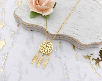 Gold Dream Catcher Dainty Necklace