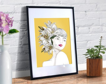 SALE - Printable Art, Flower Girl, White Lily, Artistic Decor, Illustration with girl and flowers, Joyful Art Print, Art & Collectibles
