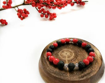 Exclusive bracelet with coral, lava stones and silver 925.