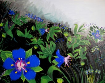 """""""Blue Pimpernel"""" painting with flowers"""
