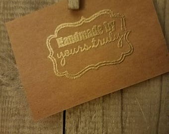 "Handmade by yours truly"" embossed brown paper cards"