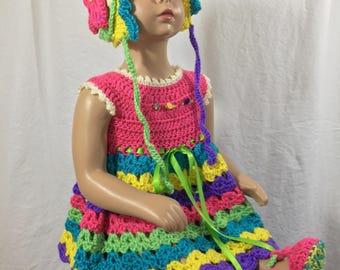 Handmade crochet baby girl dress and bonnet
