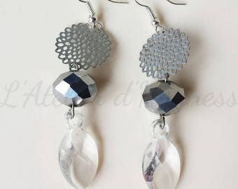Silver charm, silver pendant and faceted Pearl Earrings
