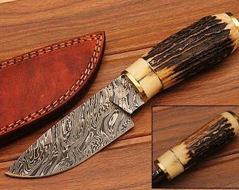 KS-15- Custom Handmade Damascus Steel Hunting Knife/ Stag Horn Handle/Deer Hunting? Collection
