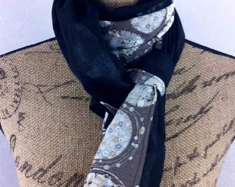 Long black 60x140cm and Alexia taupe scarf