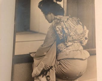 World War II era Japanese Geisha Kneeling at Window - Black-and-White Photograph/Postcard