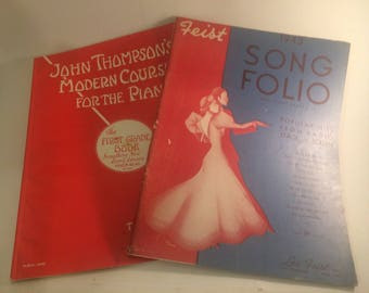 Two vintage 1940s piano sheet music books