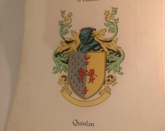 Early 20th century lithographed or engraved family coat of arms for the Quinlan family