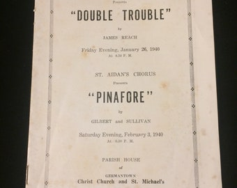 Vintage play program for Double Trouble presented by the curtain club Germantown Philadelphia January 26, 1940. Overall very good condition