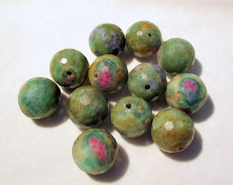 Ruby Fuchsite - faceted - pierced - ref16693 - 12mm - 12 x