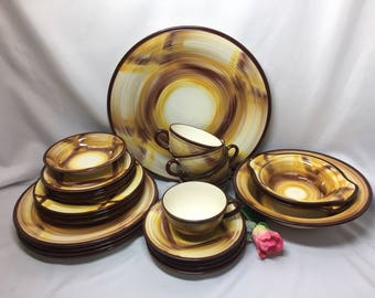 Vernonware Organdie Yellow and Brown Plaid - service for 4