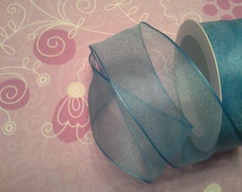 50 cm Ribbon in turquoise organza, reinforced rim