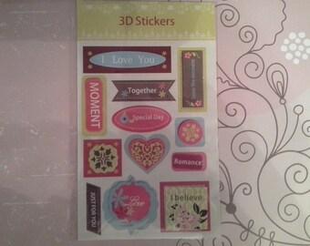 3D scrapbooking stickers