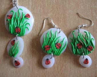 set earrings and necklace ladybugs