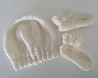 Baby Bonnet and Booties Set