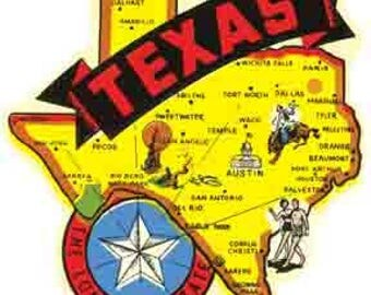 Vintage Style  Texas The Lone Star State Travel Decal sticker