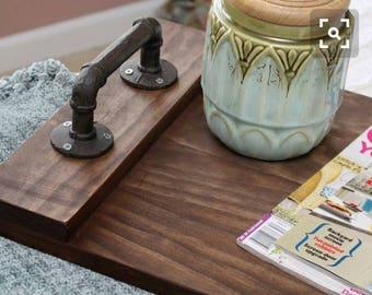 Steel meets wood serving tray