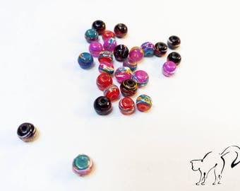 Set of 20 round beads 4 mm marbled multicolored effect