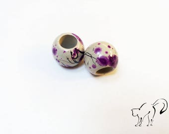 Set of 2 large beads purple effect paint splash mottled