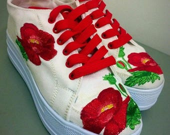 Keds with flowers on a high platform