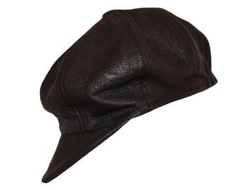 Leather newsboy cap genuine Brown