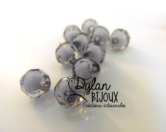 Faceted acrylic bead 10 mm / gray